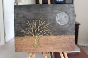 Gold Tree Silver Moon small wood B